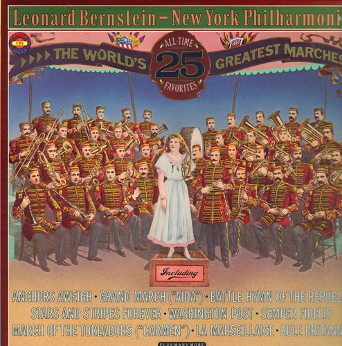 Bernstein, Leonard & New York Philharmonic - The World's 25 Greatest Marches: Anchors Aweigh, Grand March from -Aida-, Battle Hymn Of The Republic, Rule Britannia (2 vinyl STEREO LP records in gate-fold cover) - M10/NM9 - LP Records