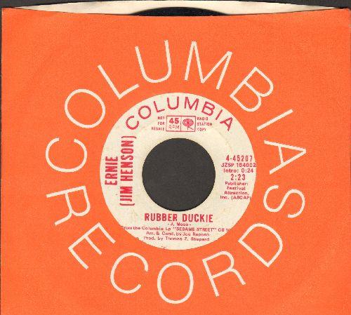 Ernie (Jim Henson) - Rubber Duckie/Sesame Street (DJ advance pressing with Columbia company sleeve) - EX8/ - 45 rpm Records