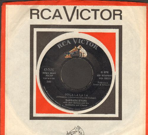Evans, Barbara - Oo La La La La/A Little Girl Cried (with RCA company sleeve) - NM9/ - 45 rpm Records