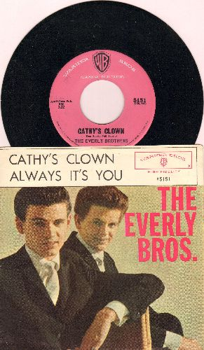 Everly Brothers - Cathy's Clown/Always It's You (pink label early pressingwith picture sleeve) - NM9/EX8 - 45 rpm Records