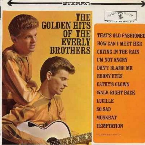 Everly Brothers - Golden Hits: How Can I Meet Her, Crying In The Rain, Ebony Eyes, Cathy's Clown, Lucille, So Sad, Temptation (vinyl LP record - green label STEREO) - NM9/EX8 - LP Records