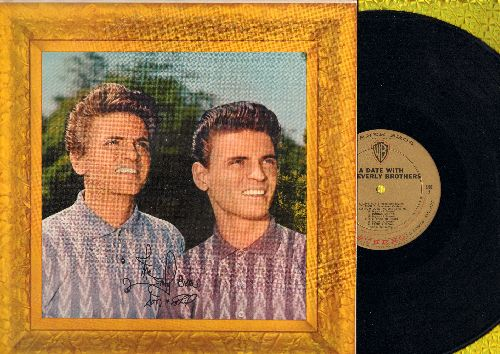Everly Brothers - A Date With The Everly Brothers: Lucille, Love Hurts, Cathy's Clown, Made To Love, Sigh Cry Almost Die, Donna Donna (vinyl STEREO LP record, gold label first pressing, NICE condition!) - NM9/NM9 - LP Records