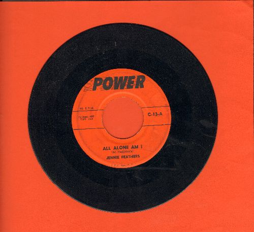 Feathers, Jeannie - All Alone Am I/Warmed Over Kisses (by Pat Vale on flip-side) (contemporary cover versions) - VG7/ - 45 rpm Records