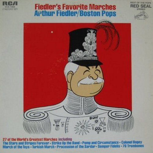 Fiedler, Arthur & Boston Pops - Fiedler's Favorite Marches: Stars And Stripes Forever, Pomp And Circumstance, March Of The Toys, 76 Trombones, Dixie, Parade of The Wooden Soldiers (2 vinyl STEREO LP record set, gate-fold cover) - EX8/VG7 - LP Records