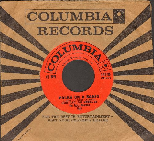 Flatt, Lester & Earl Scruggs - Polka On A Banjo/Shuckin' The Corn (Novelty 2-Sider with Columbia company sleeve) - NM9/ - 45 rpm Records