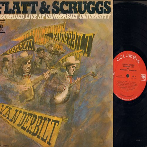 Flatt & Scruggs - Recorded Live at Vanderbilt University: Lost All My Money, Old Flops, Going Up Cripple Creek (vinyl MONO LP record) - NM9/VG7 - LP Records