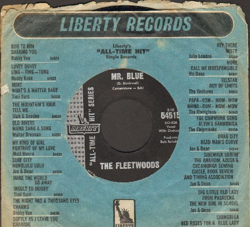 Fleetwoods - Mr. Blue/Come Softly To Me (early double-hit re-issue with Liberty company sleeve) - NM9/ - 45 rpm Records
