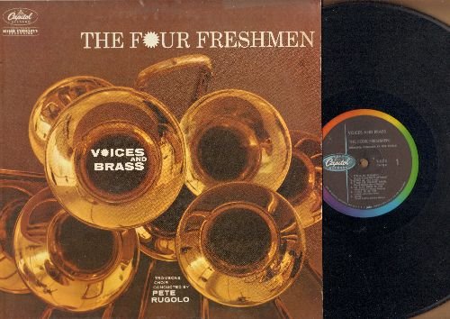 Four Freshmen - Voices And Brass: Route 66!, It Had To Be You, Pennies From Heaven, Candy (vinyl MONO LP record, rainbow-circle label) - NM9/EX8 - LP Records