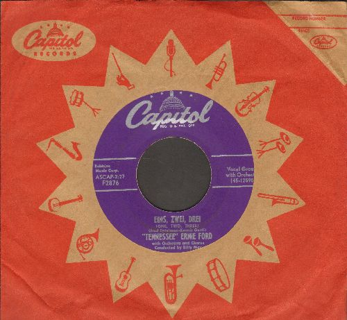 Ford, Tennessee Ernie - Eins, Zwei, Drei (One, Two, Three)/Losing You (RARE purple label 1954 first pressing with vintage Capitol company sleeve) - NM9/ - 45 rpm Records