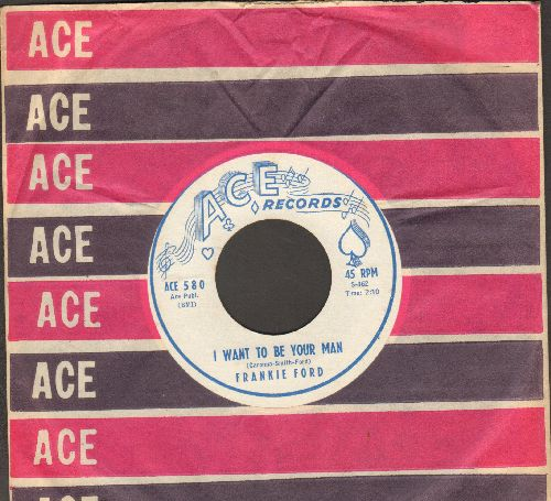 Ford, Frankie - I Want To Be Your Man/Time After Time (white label, blue logo, MINT condition with RARE Ace company sleeve) - M10/ - 45 rpm Records