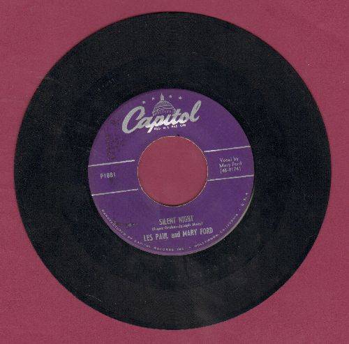 Paul, Les & Mary Ford - Silent Night/Jingle Bells (with Capitol company sleeve) - EX8/ - 45 rpm Records