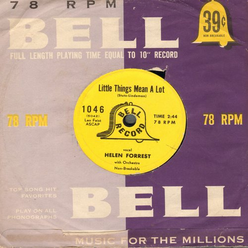 Forrest, Helen - Little Things Mean A Lot/If You Love Me (Really Love Me) (7 inch 78 rpm record, small spindle hole) - EX8/ - 78 rpm