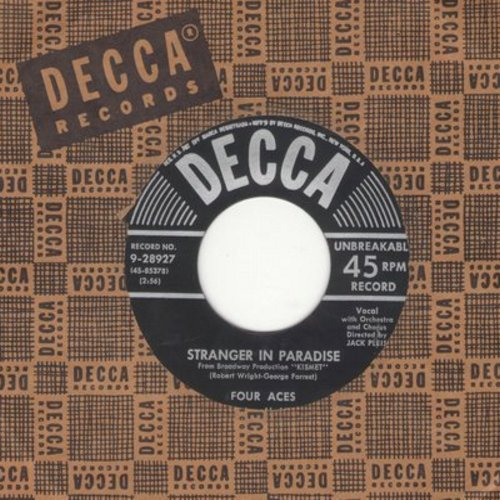 Four Aces - Stranger In Paradise/The Gang That Sang Heart Of My Hearts (silver lines early 1950s first issue with Decca company sleeve) - EX8/ - 45 rpm Records