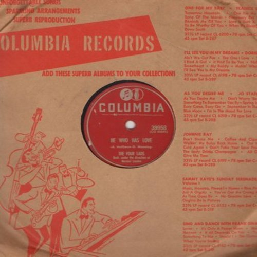 Four Lads - He Who Has Love/I Wonder, I Wonder, I Wonder (10 inch 78 rpm record with Columbia company sleeve) - VG7/ - 78 rpm
