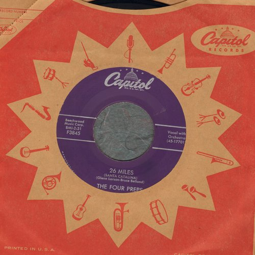 Four Preps - 26 Miles (Santa Catalina)/It's You (with vinatge Capitol company sleeve) - EX8/ - 45 rpm Records