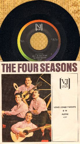 Four Seasons - Alone (Why Must I Be Alone)/Long Lonely Nights (with RARE picture sleeve) - NM9/VG7 - 45 rpm Records