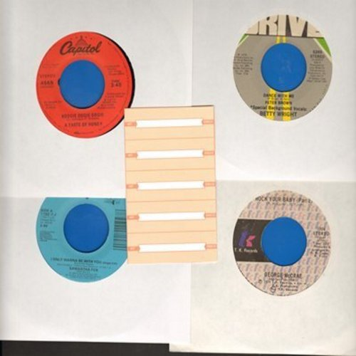 Brown, Peter, Samantha Fox, George McCrae, Taste Of Honey - Set of 4 first issue 45s with 5 blank juke box labels, exactly as pictured. NICE set of 1970s Disco Hits for a juke box or to add to your collection. Shipped in plain white sleeves. - EX8/ - 45 r