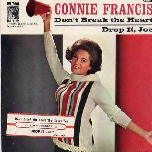 Francis, Connie - Don't Break The Heart That Loves You/Drop It, Joe (vinyl and picture sleeve with juke box label) - NM9/VG7 - 45 rpm Records