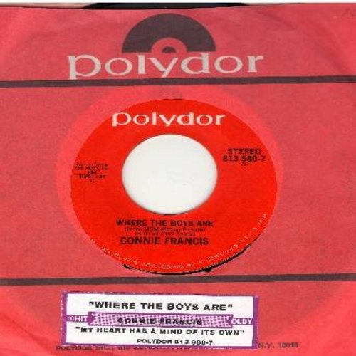 Francis, Connie - Where The Boys Are/My Heart Has A Mind Of Its Own (double-hit re-issue with juke box label) - M10/ - 45 rpm Records