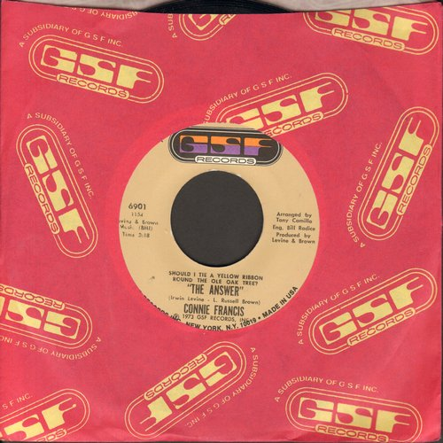 Francis, Connie - Should I Tie A Yellow Ribbon Round The Old Oak Tree (The Answer)/Paint The Rain (MINT condition with RARE GSF company sleeve) - M10/ - 45 rpm Records