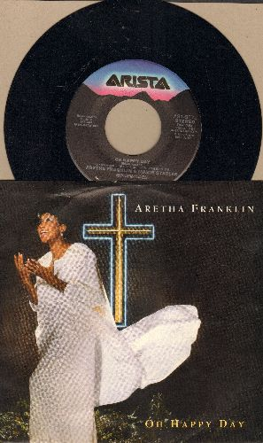 Franklin, Aretha & Mavis Staples - Oh Happy Day/The Lord's Prayer (with picture sleeve) - NM9/NM9 - 45 rpm Records