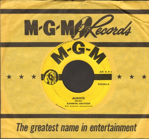 Grayson, Kathryn - Always/This Is My Lovely Day (with vintage MGM company sleeve) - EX8/ - 45 rpm Records