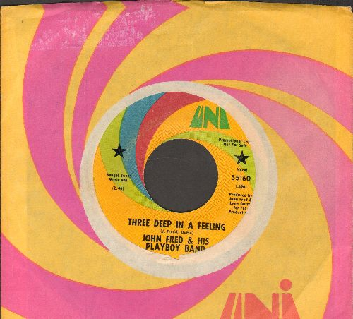 Fred, John & His Playboy Band - Three Deep In A Feeling/Open Doors (DJ advance pressing with Uni company sleeve) - EX8/ - 45 rpm Records