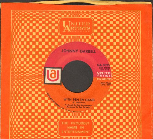 Darrell, Johnny - With Pen In Hand/Poetry Of Love (with United Artists company sleeve) - EX8/ - 45 rpm Records