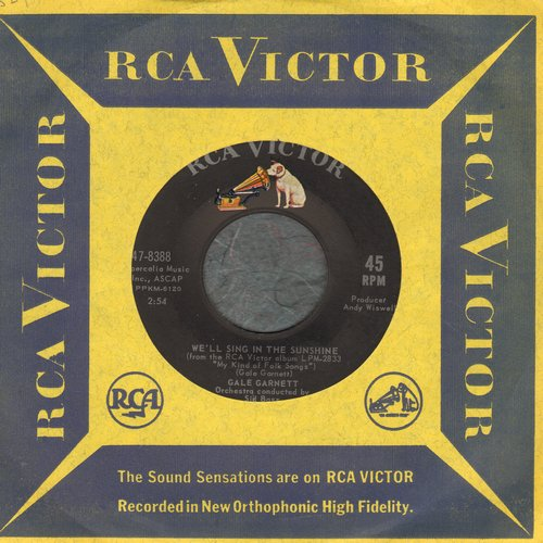 Garnett, Gale - We'll Sing In The Sunshine/Prism Song (with RCA company sleeve) - M10/ - 45 rpm Records