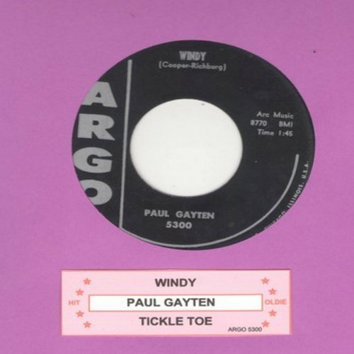 Gayten, Paul - Windy (Jazzy Version of -Tom Hark-)/Tickle Toe (with juke box label) - EX8/ - 45 rpm Records