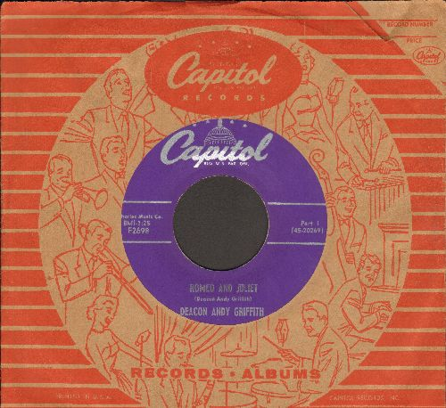 Griffith, Andy - Romeo And Juliet (Parts 1 + 2)(with vintage Capitol company sleeve) - EX8/ - 45 rpm Records