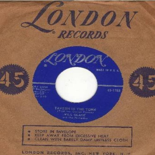 Glahe, Will & His Orchestra - Tavern In The Town (Head, Shoulders, Knees And Toes)/Sweet Elizabeth (with London company sleeve) - NM9/ - 45 rpm Records