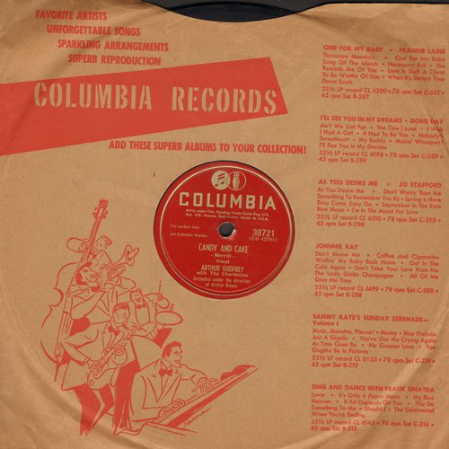 Godfrey, Arthur with The Chordettes - Candy And Cake (ANSWER to -Rum And Coca Cola-)/Dear Old Girl (10 inch 78rpm record with Columbia company sleeve) - VG7/ - 78 rpm