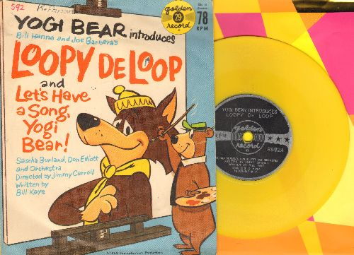Burland, Sascha, Don Elliot & Orchestra - Yogi Bear Introduces Loopy De Loop/Let's Have A Song, Yogi Bear! (5 inch 78 rpm Little Golden Record with picture cover, small spindle hole) - EX8/VG7 - 78 rpm Records