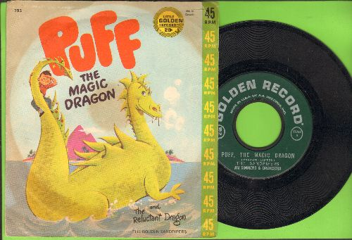 Sandpipers - Puff, The Magic Dragon/The Reluctant Dragon (with picture cover) - EX8/VG7 - 45 rpm Records