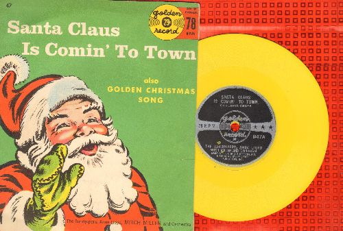 Sandpipers, Anne Lloyd with Mitch Miller & Orchestra - Santa Claus Is Comin' To Town/Christmas Song (5 inch 78 rpm Little Golden Record with picture cover) - EX8/EX8 - 45 rpm Records
