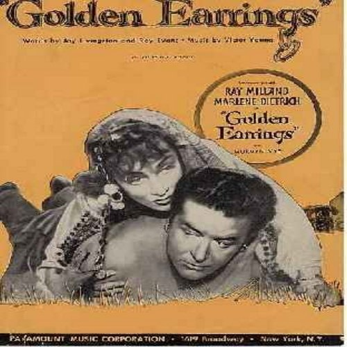 Dietrich, Marlene - Golden Earring - Original Vintage SHEET MUSIC - NICE cover art of stars Marlene Dietrich and Ray Milland, suitable for framing! (THIS IS SHEET MUSIC, NOT ANY OTHER KIND OF MEDIA! INTERNATIONAL SHIPPING RATE SAME AS 45rpm RECORD)  - EX8