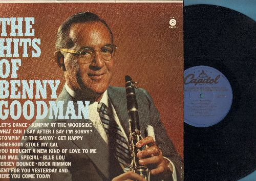 Goodman, Benny - The Hits Of Benny Goodman: Jersey Bounce, Get Happy, Jumpin' At The Woodside, Stompin' At The Savoy (vinyl LP record, re-issue of vintage recordings) - NM9/NM9 - LP Records