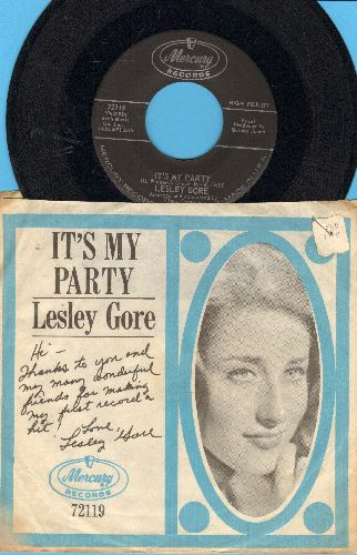 Gore, Lesley - It's My Party (And I Cry If I Want To)/Danny (with RARE picture sleeve) - EX8/VG6 - 45 rpm Records