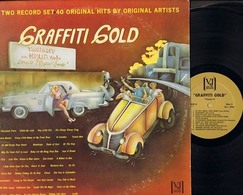 Graffiti Gold - 40 Original Hits by Original Artists on 2 vinyl LP records: Shimmy Shimmy Koko Bop, Eddie My Love, 16 Candles, Tears On My Pillow, Lucille, Beep Beep, Raindrops, more! - NM9/VG7 - LP Records