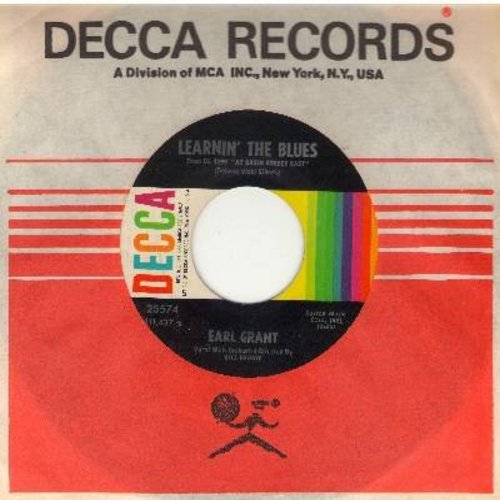 Grant, Earl - Learnin' The Blues (RARE Vocal Version)/Sweet Sixteen Bars (with Decca company sleeve) - NM9/ - 45 rpm Records
