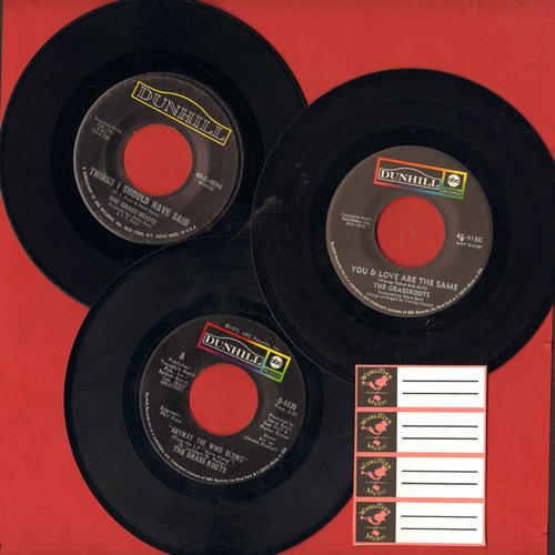 Grass Roots - Grass Roots 3-Pack of first issue 45s. Hits include Things I Should Have Said, You & Love Are The Same and Anyway The Wind Blows. Shipped in plain white paper sleeves with 4 blank juke box labels. - EX8/ - 45 rpm Records