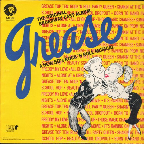 Grease - Grease - Original Broadway Cast Album: Those Magic Moments, We Go Together, Summer Nights (vinyl STEREO LP record) - EX8/VG7 - LP Records