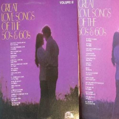 Platters, Everly Brothers, Dion & The Belmonts, Capris, Carlo, others - Great Love Songs Of The 50s & 60s: Raindrops, What's Your Name, Only You, Gloria, That's My Desire, Open Your Eyes, Time Is Wasting (2 vinyl LP records) - NM9/NM9 - LP Records