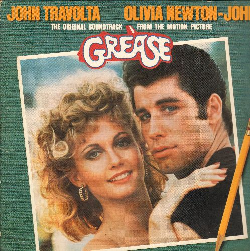 Travolta, John & Olivia Newton-John - Grease - Original Motion Picture Soundtrack featuring hits Summer Nights, Greased Lightning, Sandy, You're The One That I Want (2 vinyl LP record set, gate-fold cover!) - EX8/EX8 - LP Records