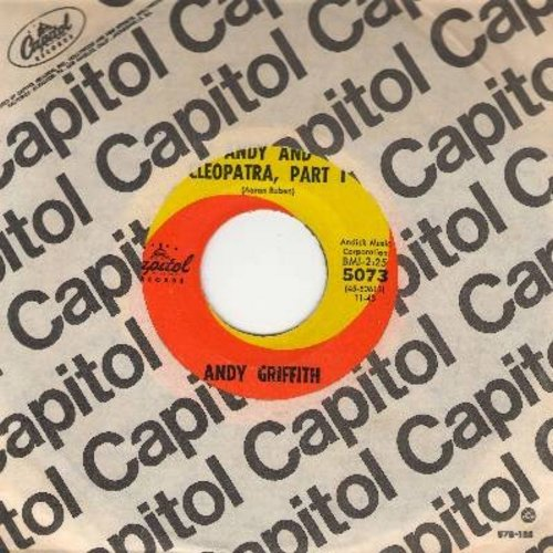 Griffith, Andy - Andy And Cleopatra (parts 1 + 2, orange/yellow swirl label with vintage Capitol company sleeve) - NM9/ - 45 rpm Records