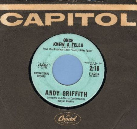 Griffith, Andy - Once Knew A Fella/Don't Look Back (DJ advance pressing with Capitol company sleeve) - EX8/ - 45 rpm Records