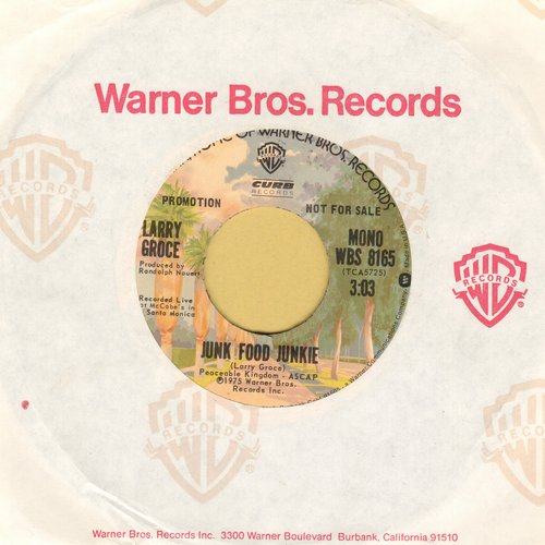 Groce, Larry - Junk Food Junkie/Muddy Boggy Banjo Man (with Warner Brothers company sleeve) - NM9/ - 45 rpm Records