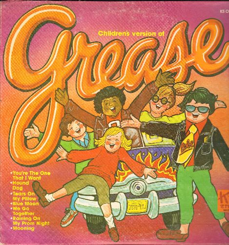 Grease - Grease - Children's Version: Blue Moon, Tears On My Pillow, We Go Together, You're The One That I Want (vinyl LP record) - EX8/VG7 - LP Records