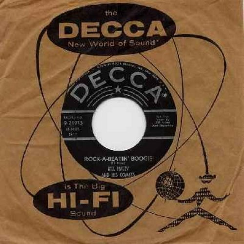 Haley, Bill & His Comets - Rock-A-Beatin' Boogie/Burn That Candle (black lable, star/lines, with Vintage Decca company sleeve) - EX8/ - 45 rpm Records